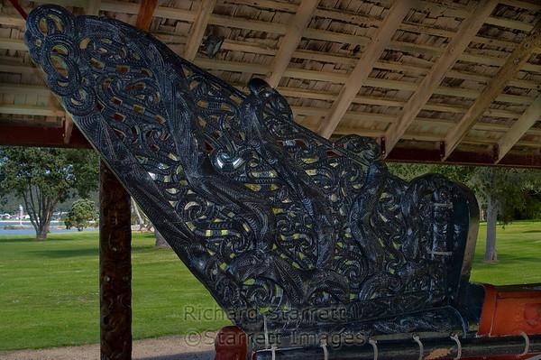 Carved Maori canoe