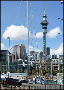 Auckland with the Sky Tower dominating the scene. The Sky Tower is an observation and telecommunications tower and is  328 metres (1,076 ft) tall, making it the tallest free-standing structure in the Southern Hemisphere. There are casinos and revolving restaurants up there taking advantage of the far reaching views.