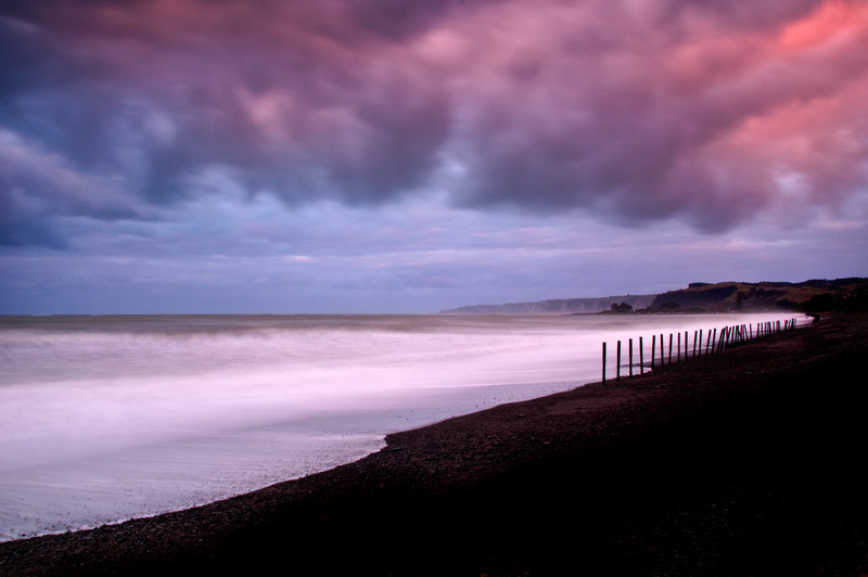 Stormy Red Sunset by the Sea - Napier