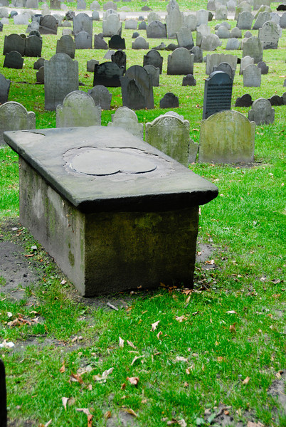 An interesting heart tomb in the Granary Burying Ground