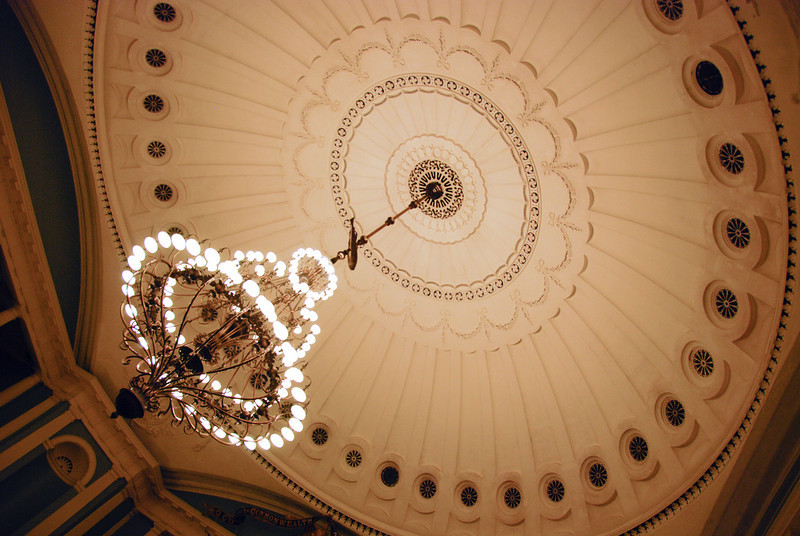 Chandelier and dome in the MA State House Senate Chambers