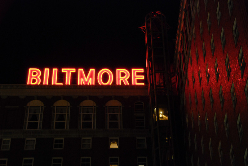 Biltmore Hotel in downtown Providence, RI. It was once the tallest structure in Providence, and it's an amazing building. The only downside was that the glass elevator wasn't working, so the only view we got was from our room.