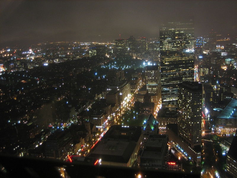Cloudy and a little blurry, but this is the view of downtown Boston from the Prudential Skywalk