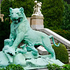Statue at the Elms mansion of a lion killing a crocodile.