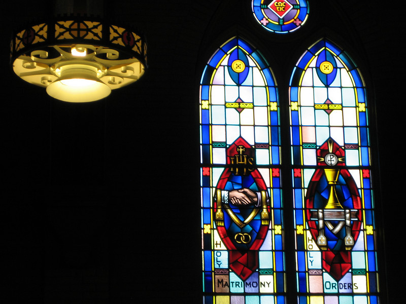 Stained glass in Saint Joseph church in Fairhaven, MA where we attended a wedding.