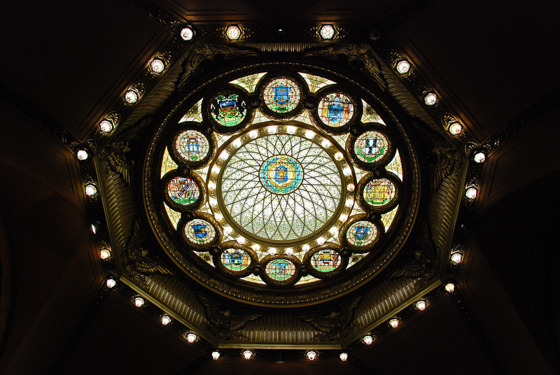 Stained glass ceiling at the MA State House