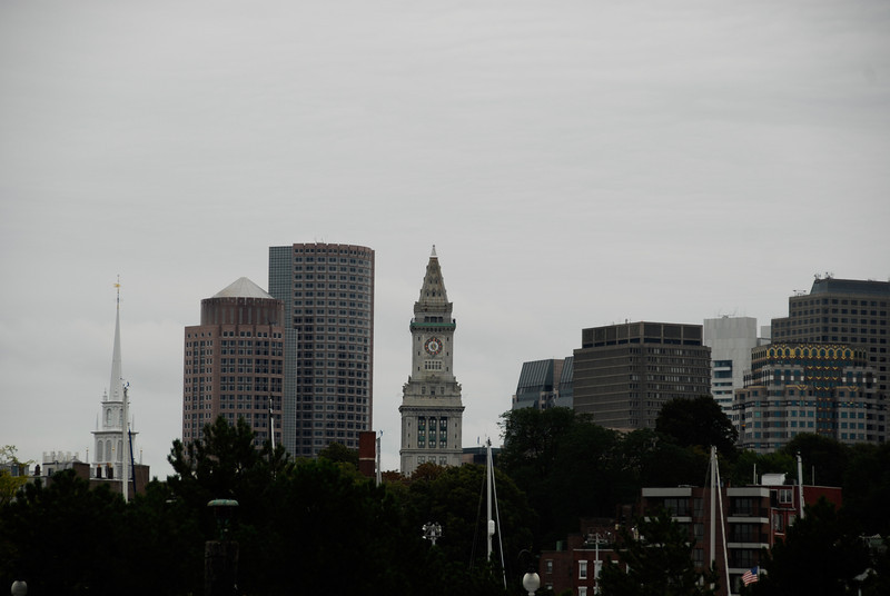 View of downtown Boston, with the Old North Church on the left.
