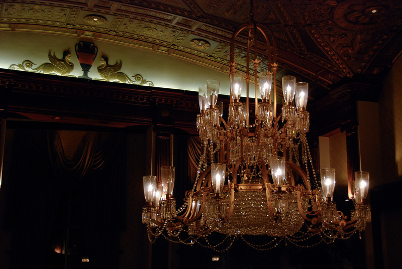 Chandelier and ceiling detail in the Biltmore Hotel