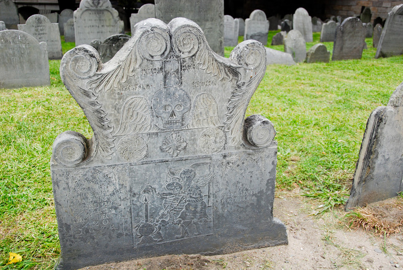 Joseph Tapping's gravestone in the King's Chapel Burying Ground, depicting death and Father Time.