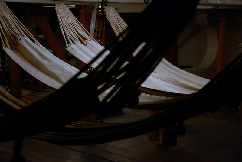 Hammocks in the USS Constitution, which offered a great free tour given by the Navy guys who were stationed there.