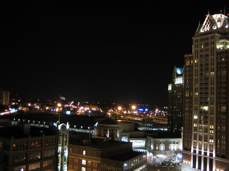 The view from the Biltmore hotel of downtown Providence. The view would have been better if we'd been on the other side so we could see the State Capitol building, which is enormous and grand.