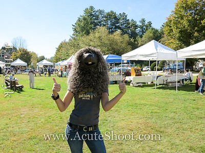 First up we visit the Wilmot Farmer's Market where I get to try a porcupine costume.