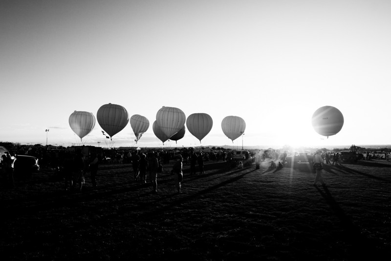 gas balloons, sunset, and shadows