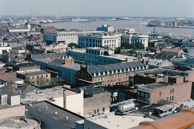 French Quarter Mardi Gras, 1987  (This view is from the roof of the Maison Blanche building)