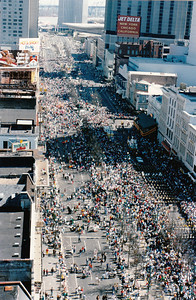 Mardi Gras, 1987, Canal Street  (This view is from the roof of the Maison Blanche building)