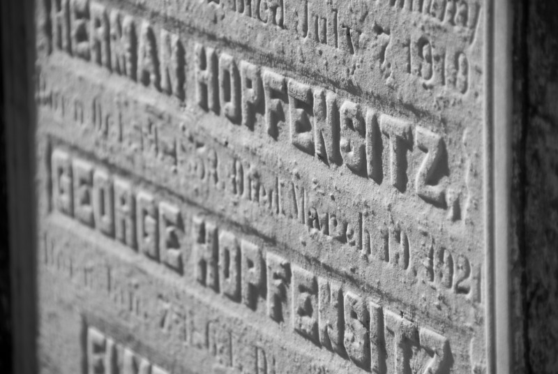"""<span id=""""title"""">Tombstone</span> <em>Lafayette Cemetery No. 1</em> Hopfensitz - what a cool name. It was interesting to see the variety of names, lots of English and French, but obviously others, too."""
