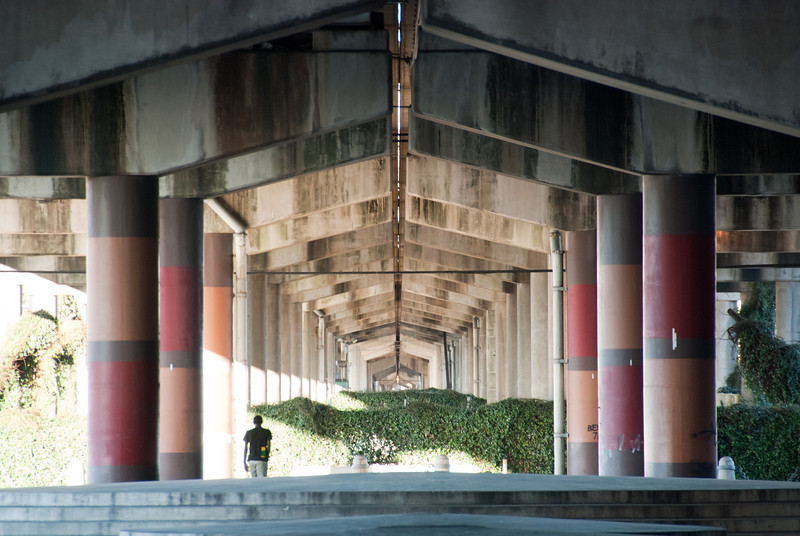 """<span id=""""title"""">Under I-10</span> <em>New Orleans</em> I took this shot where Interstate 10 goes over Canal Street. This guy was doing skateboard tricks."""
