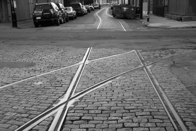 """<span id=""""title"""">Old Tracks</span> <em>New Orleans</em> Cobblestone streets and abandoned rail lines are kind of depressing to me. This is now a fairly industrial section of the city."""