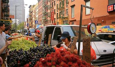 De markt in Chinatown. Manhattan, New York, USA.