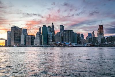 Skyline of Manhattan after sunset, New York, USA, 2009