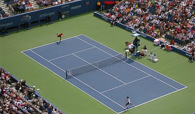 Federer vs. Sela @ Arthur Ashe Stadium. US Open, Flushing Meadows, New York, USA.