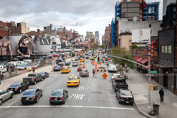 10th avenue from Highline, Meatpacking district, Manhattan, New York, USA, 2009