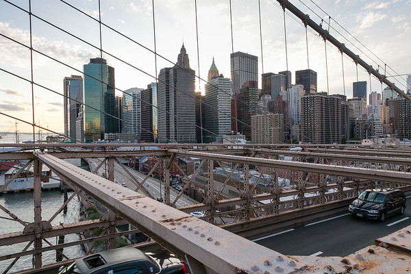 Sunset on Manhattan, Brooklyn bridge, New York, USA, 2009