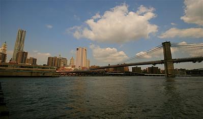 Brooklyn Bridge @ East River. South Street Seaport, Lower Manhattan, New York, USA.