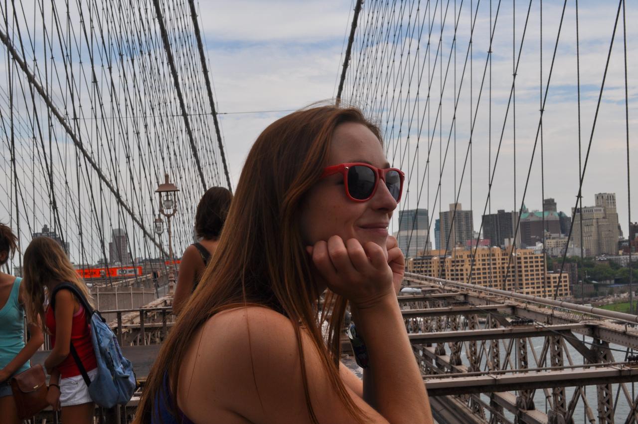 Sam on the Brooklyn Bridge