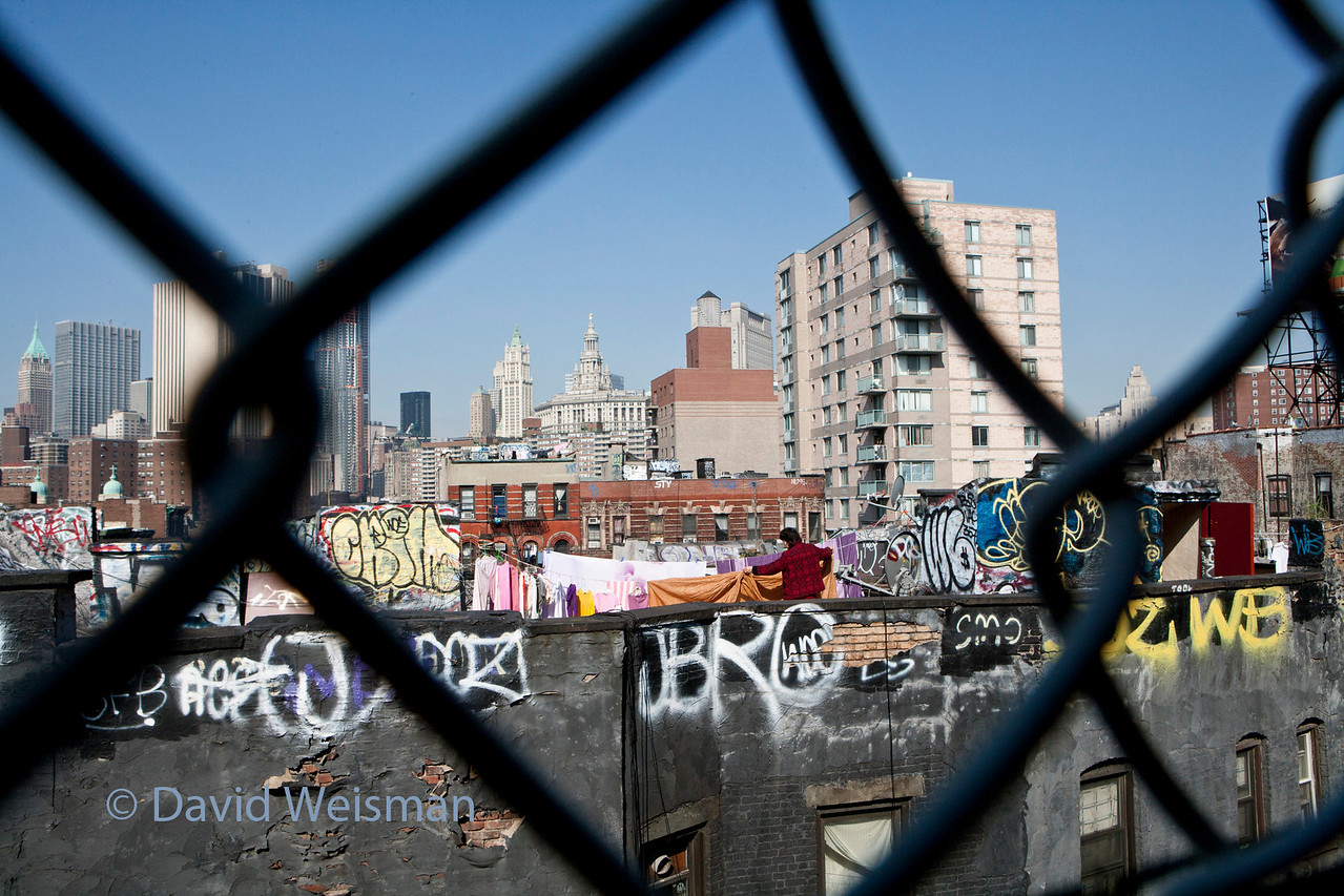 Roof top graffiti and laundry - taken from the Manhattan Bridge