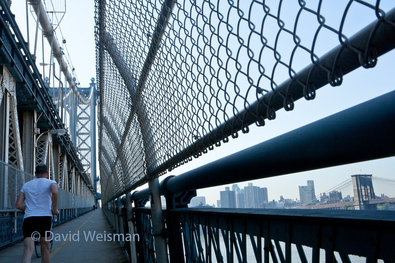 Taken from the Manhattan Bridge with view of the Brooklyn Bridge to the right
