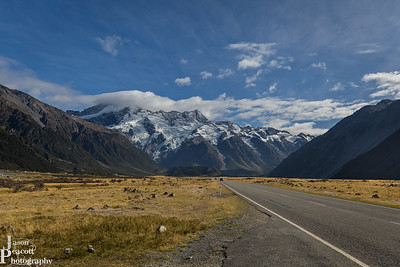 Driving towards Mount Cook