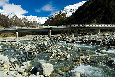 A mountain stream and road bridge in the southern alps of New Zealand