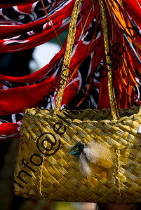A traditional kite - a moari bag woven from native flax, New Zealand