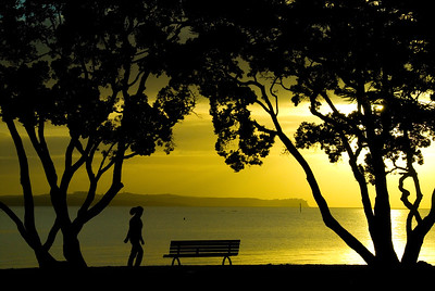 A woman is silhouetted by the rising sun on the mission bay waterfront - Auckland New Zealand