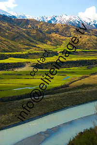 The rolling canterbury hills, rivers and mountains in New Zealand