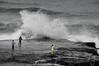Hard core surf fishermen at Murawai Beach, west coast of the North Island, New Zealand, December 2010. [Murawai 2010-12 030_BW NI-NZ]