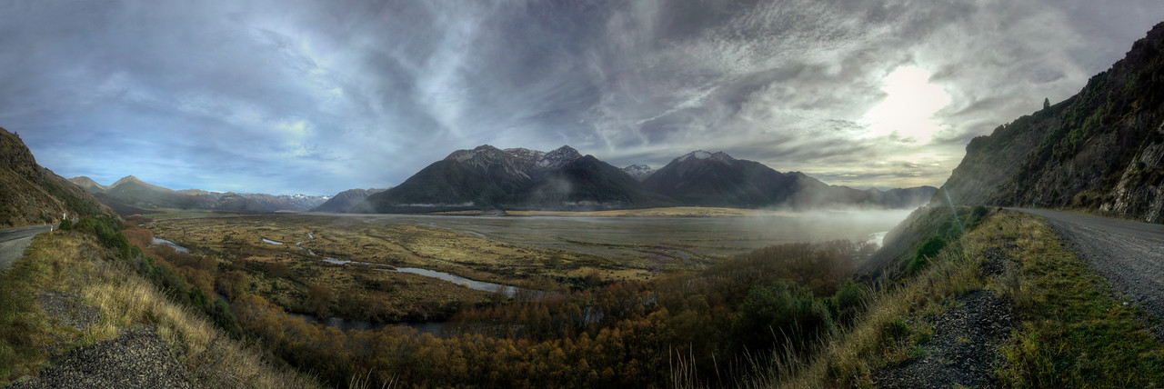 180° view of the dissipating fog during sunrise near Lake Pearson and Arthur's Pass.