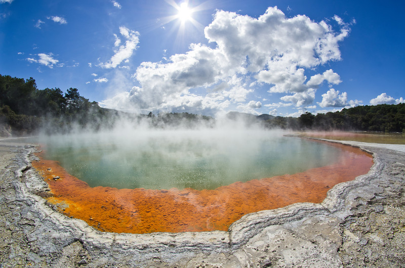 New Zealand is at the crossing of the Pacific and Indo-Australian plates, and is very much alive with high seismic, volcanic and geothermic activity. The Champagne Pool, so called because of the bubbles released by CO2 at the surface, is a magnificent sight in the Wai-O-Tapu area. Don't even think about swimming here - the water is acidic and boiling.