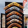 Boomerangs for sale at a street fair in Newcastle in New South Wales, Australia.