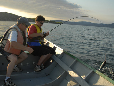 George Donkin mackerel fishing in Newfoundland, Canada