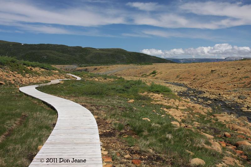 Boardwalk at end of Tablelands Trail, Gros Morne Natl Park, NL.