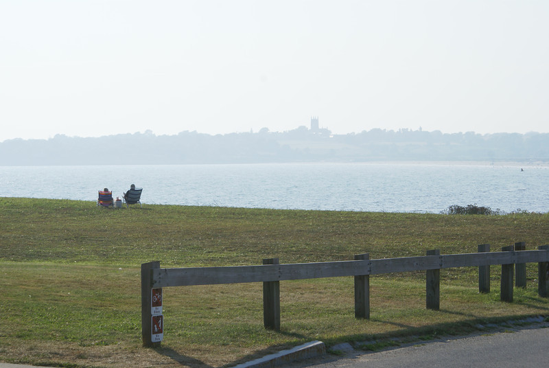 Sachuest Point National Wildlife Refuge, view from alongside the Visitor center - back towards Middletown and St George's Church.