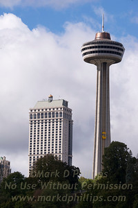 Niagara Falls, Canada with Skylon Tower and Hilton Fallsview Hotel