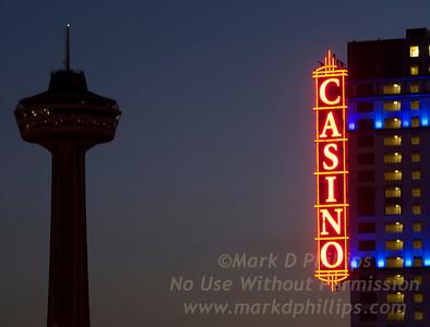 Skylon Tower and the Fallsview Casino in Niagara Falls, Canada at sunrise.