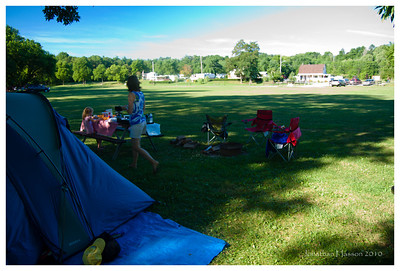 """After the Finger Lakes of NY, we moved on to Ontario, Canada.  This is our little campsite at the private Jordan Valley Campground.  Located 25 minutes west of Niagara Falls right in the middle of the Ontario wine region, this was a great place to call """"home"""" for the trip."""