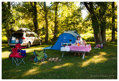 Our little spot in the shade.  This was a great location; that is until the storms one night where we could hear trees falling in the woods!