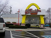 """A cool little McDonald's drive through - made to look like the old """"classic"""" style like my dad's with the Golden arches & red/white bricks."""