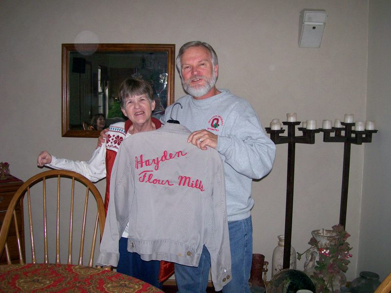 """Mom & Carl - the """"Tecumseh twins""""... both lived in that tiny town in Michigan when they were elementary school age ... that's Carl's father's work jacket."""