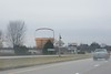 The Longaberger office building on the horizon, coming down the highway